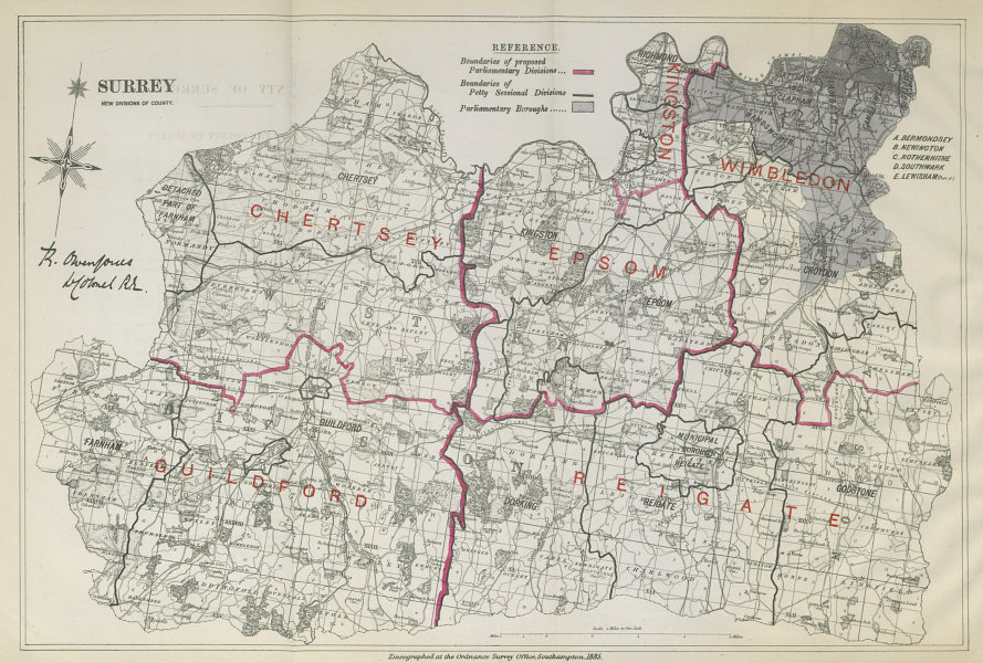 Associate Product Surrey Parliamentary Divisions. Guildford Reigate. BOUNDARY COMMISSION 1885 map