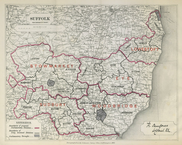 Associate Product Suffolk Parliamentary Divisions. Lowestoft Sudbury. BOUNDARY COMMISSION 1885 map