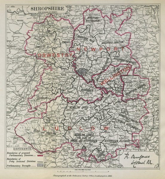 Associate Product Shropshire Parliamentary Divisions. Oswestry Ludlow BOUNDARY COMMISSION 1885 map
