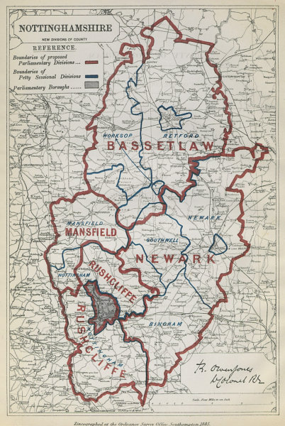 Associate Product Nottinghamshire Parliamentary Divisions. Mansfield. BOUNDARY COMMISSION 1885 map