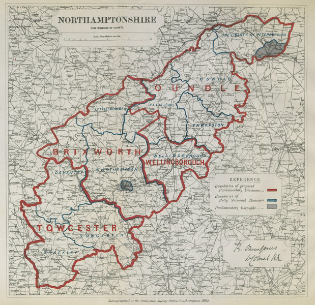 Associate Product Northamptonshire Parliamentary Divisions. Oundle. BOUNDARY COMMISSION 1885 map
