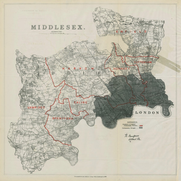 Associate Product Middlesex Parliamentary Divisions. Ealing Harrow. BOUNDARY COMMISSION 1885 map