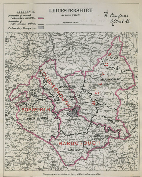 Associate Product Leicestershire Parliamentary Divisions. Bosworth. BOUNDARY COMMISSION 1885 map