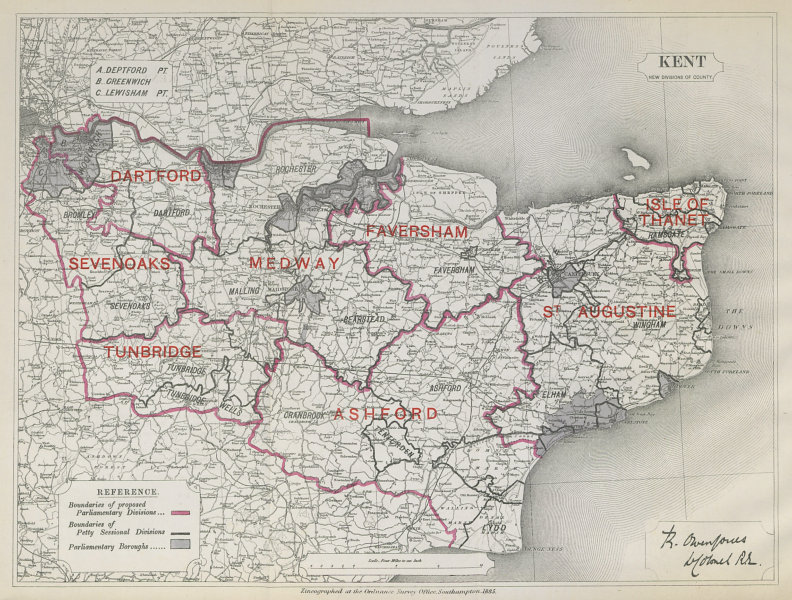 Associate Product Kent Parliamentary Divisions. Dartford Ashford. BOUNDARY COMMISSION 1885 map