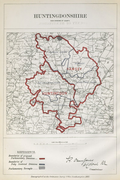 Associate Product Huntingdonshire Parliamentary Divisions. Ramsey. BOUNDARY COMMISSION 1885 map