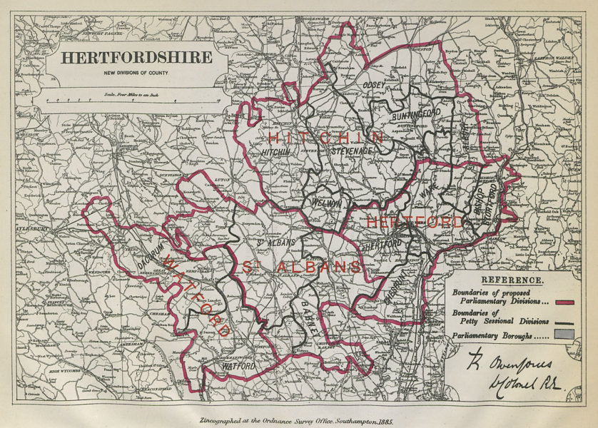 Associate Product Hertfordshire Parliamentary Divisions. Watford. BOUNDARY COMMISSION 1885 map