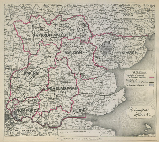 Associate Product Essex Parliamentary Divisions. Romford Epping. BOUNDARY COMMISSION 1885 map