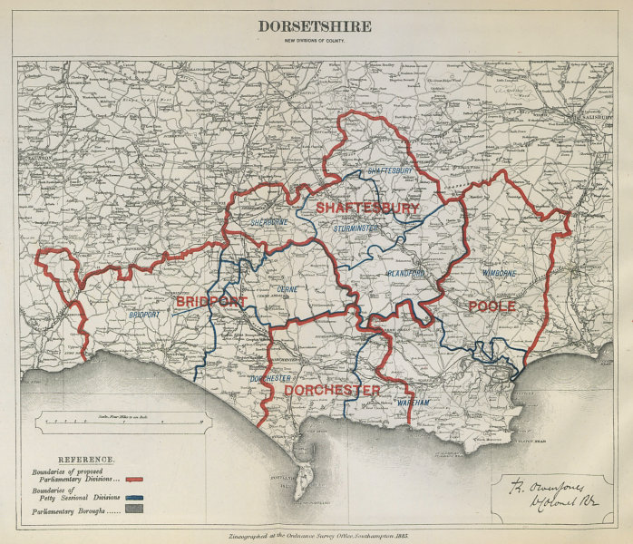Associate Product Dorsetshire Parliamentary Divisions. Bridport Poole BOUNDARY COMMISSION 1885 map