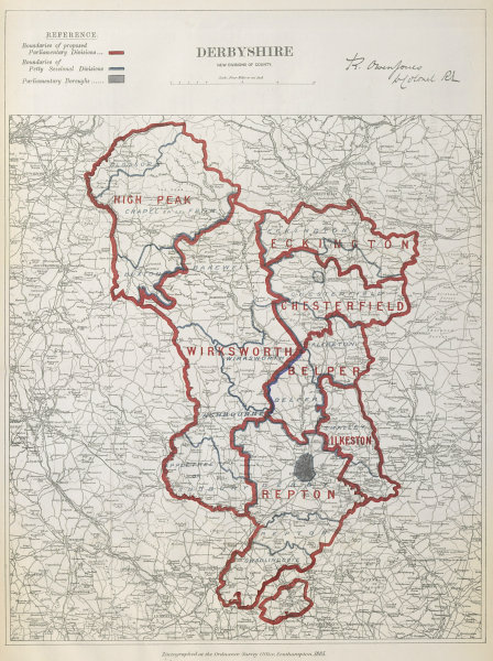 Associate Product Derbyshire Parliamentary Divisions. Repton Belper. BOUNDARY COMMISSION 1885 map