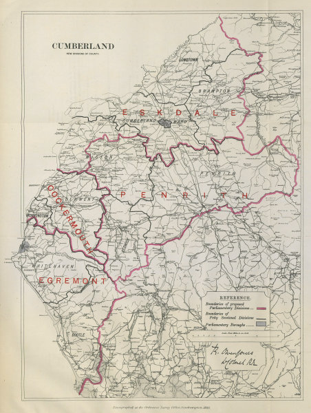 Associate Product Cumberland Parliamentary Divisions. Cumbria Penrith BOUNDARY COMMISSION 1885 map