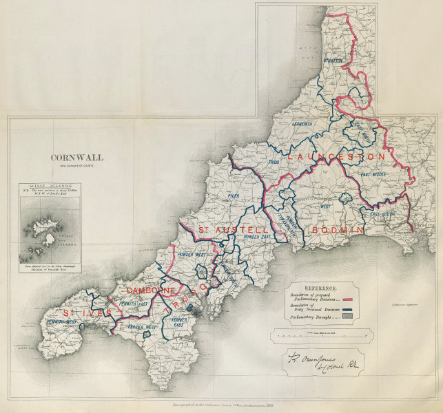 Associate Product Cornwall Parliamentary Divisions. St Ives Austell. BOUNDARY COMMISSION 1885 map