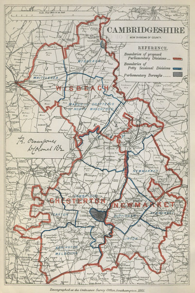 Associate Product Cambridgeshire Parliamentary Divisions. Newmarket. BOUNDARY COMMISSION 1885 map