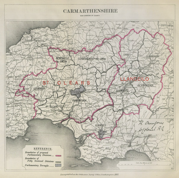 Associate Product Carmarthenshire Parliamentary Divisions. Llandeilo. BOUNDARY COMMISSION 1885 map