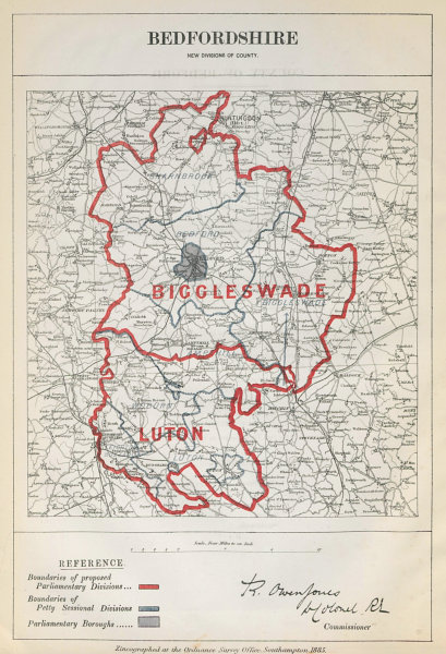 Associate Product Bedfordshire Parliamentary Divisions. Luton. BOUNDARY COMMISSION 1885 old map