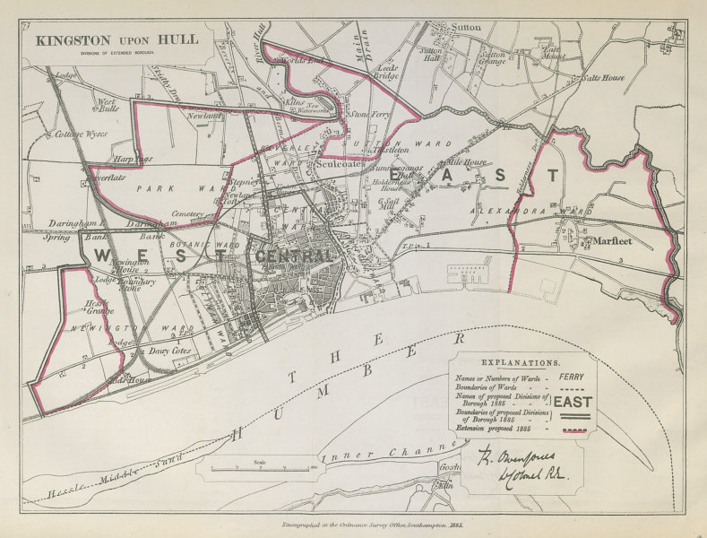 Associate Product Kingston Upon Hull Parliamentary Borough. Yorkshire BOUNDARY COMMISSION 1885 map