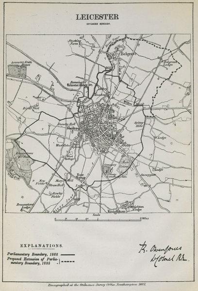 Associate Product Leicester Parliamentary Borough. Belgrave. BOUNDARY COMMISSION. Jones 1885 map