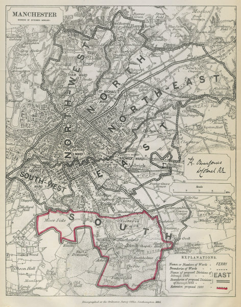 Associate Product Manchester Parliamentary Borough. BOUNDARY COMMISSION. Jones 1885 old map