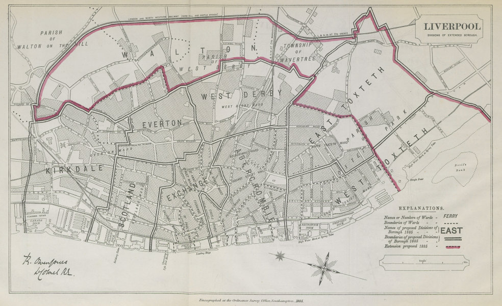 Associate Product Liverpool Parliamentary Borough. Kirkdale Walton. BOUNDARY COMMISSION 1885 map
