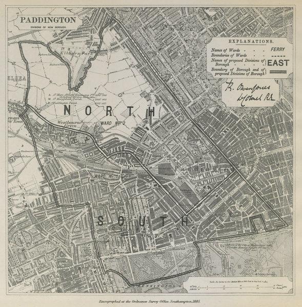 Associate Product Paddington Parliamentary Borough. Bayswater Maida V BOUNDARY COMMISSION 1885 map
