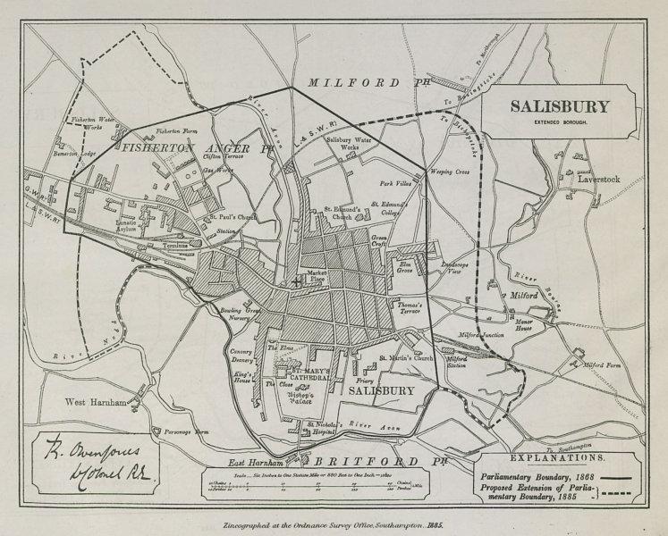 Associate Product Salisbury Parliamentary Borough. Fisherton Anger. BOUNDARY COMMISSION 1885 map