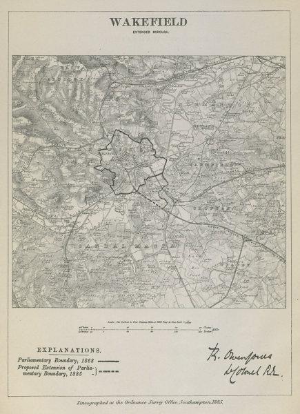 Associate Product Wakefield Parliamentary Borough. Yorkshire. BOUNDARY COMMISSION. Jones 1885 map
