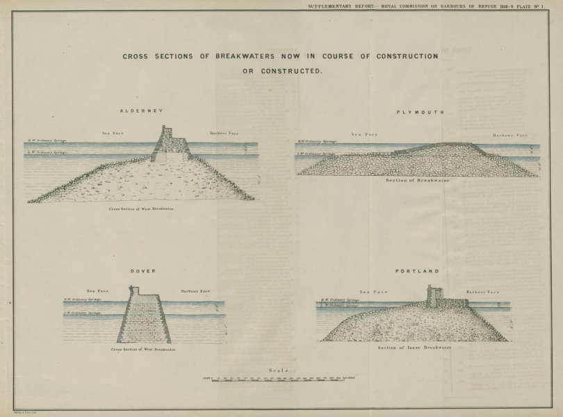Associate Product Breakwater cross-sections. Alderney, Plymouth, Dover & Portland 1859 old print