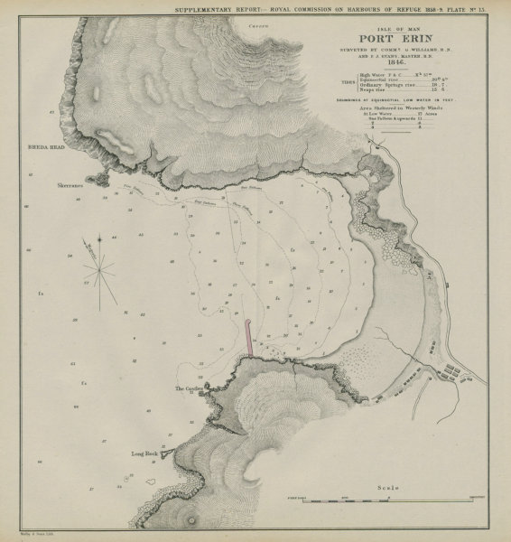 Associate Product Port Erin bay. Williams/Evans survey. Proposed breakwater. Isle of Man 1859 map