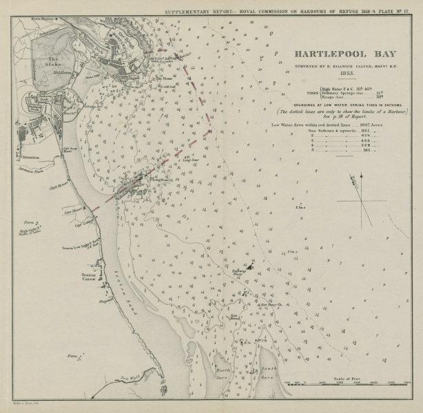 Associate Product Hartlepool Bay. E. Killwick Calver survey. Proposed breakwater. Durham 1859 map