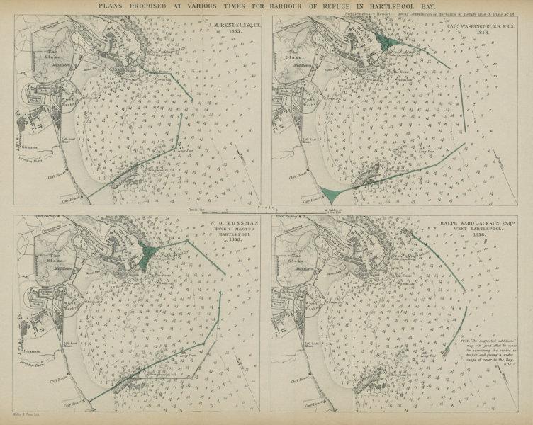Associate Product Hartlepool Bay proposed breakwaters. Rendel Washington Mossman Jackson 1859 map