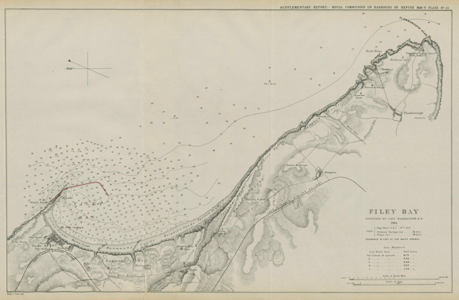 Associate Product Filey Bay surveyed by Capt Washington R.N. 1844. Proposed breakwater 1859 map