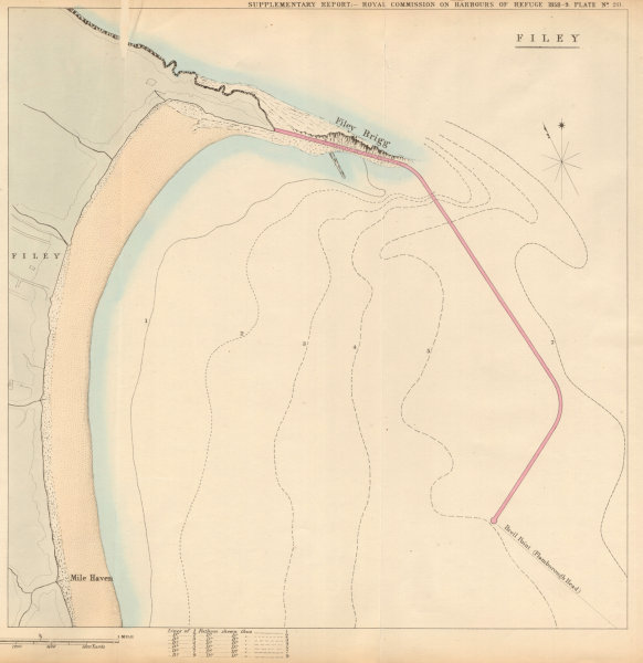 Associate Product Filey Bay showing the proposed breakwater. Yorkshire 1859 old antique map