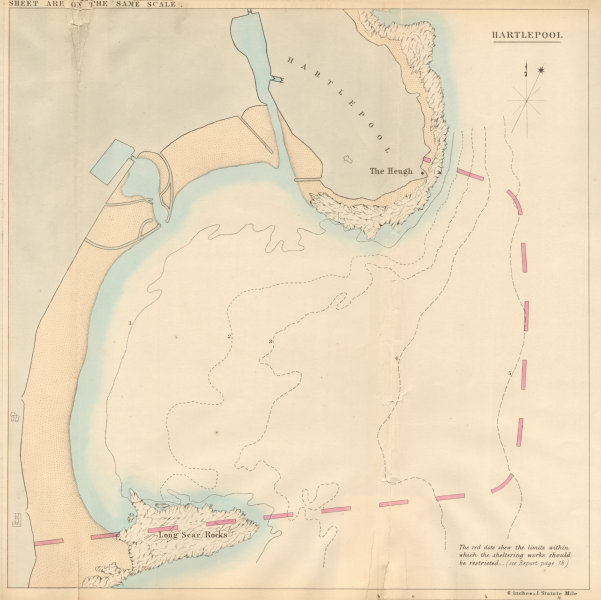 Associate Product Hartlepool Bay showing the proposed breakwater. Durham 1859 old antique map