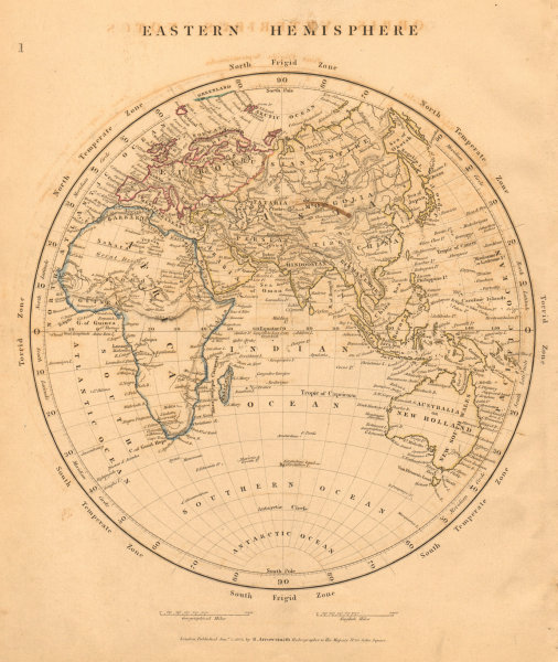 Associate Product EASTERN HEMISPHERE Europe Africa (Mountains of Kong) Asia. ARROWSMITH 1828 map