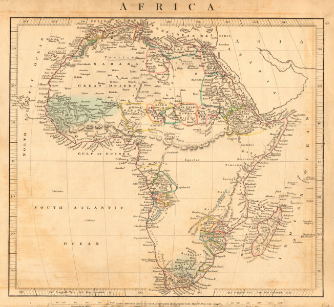 Associate Product AFRICA. Unexplored areas. Mountains of the Moon & Kong. ARROWSMITH 1828 map