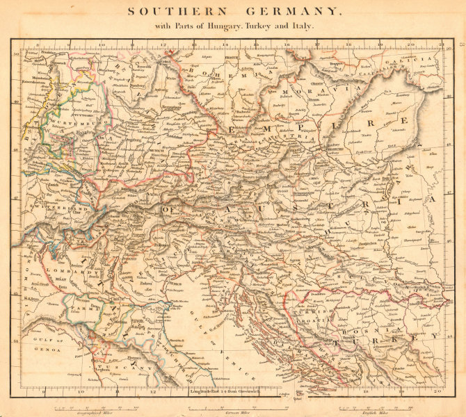 Associate Product SOUTHERN GERMANY with parts of Hungary Turkey Italy. Austria ARROWSMITH 1828 map