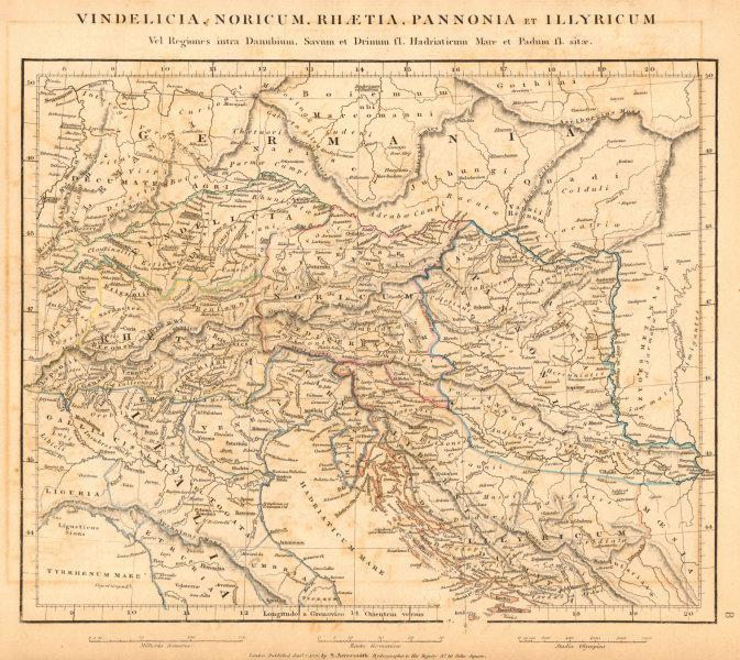 Associate Product ANCIENT CENTRAL EUROPE. Vindelicia Noricum Rhaetia Pannonia. ARROWSMITH 1828 map