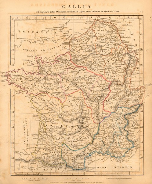 Associate Product ANCIENT ROMAN FRANCE GAUL. Gallia France Lugdunensis. ARROWSMITH 1828 old map