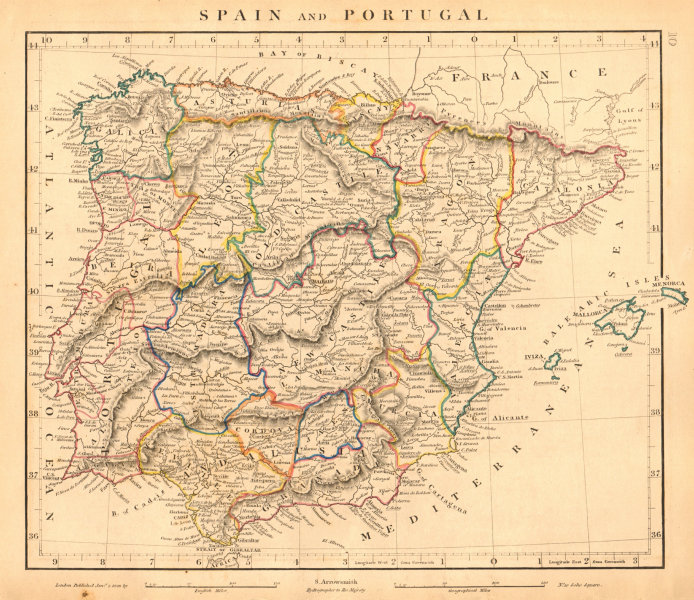 Associate Product IBERIA. Spain and Portugal General map. Provinces. ARROWSMITH 1828 old