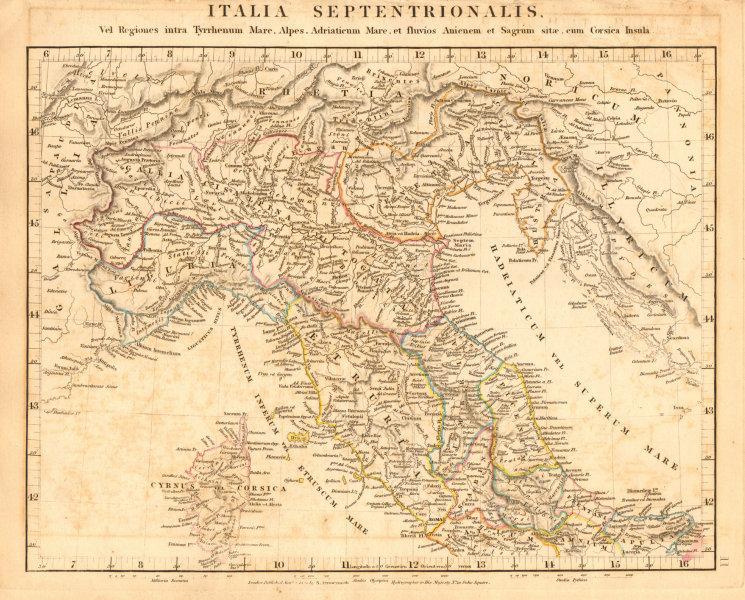 Associate Product ANCIENT ROMAN NORTHERN ITALY. Italia Septentrionalis. Gallia Cisalpina 1828 map