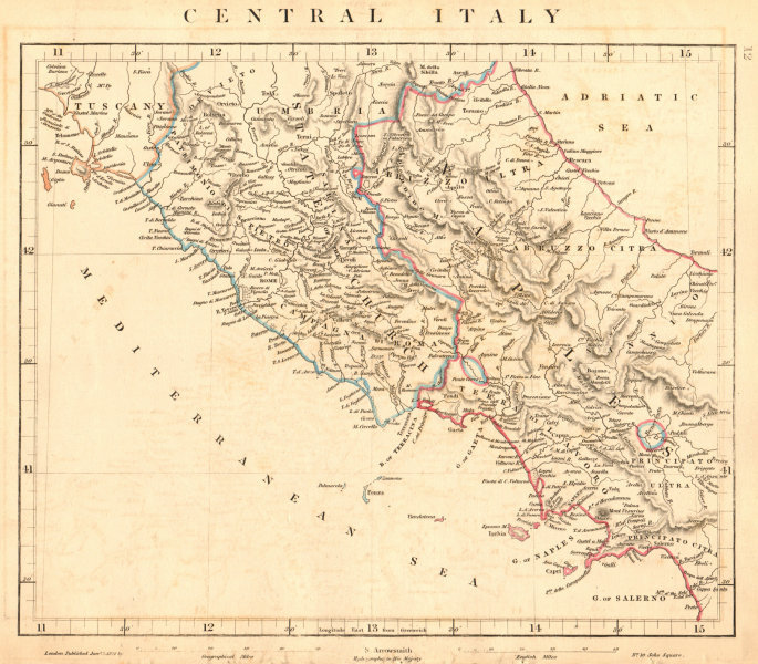 Associate Product CENTRAL ITALY. Papal States. Kingdom of Naples. ARROWSMITH 1828 old map