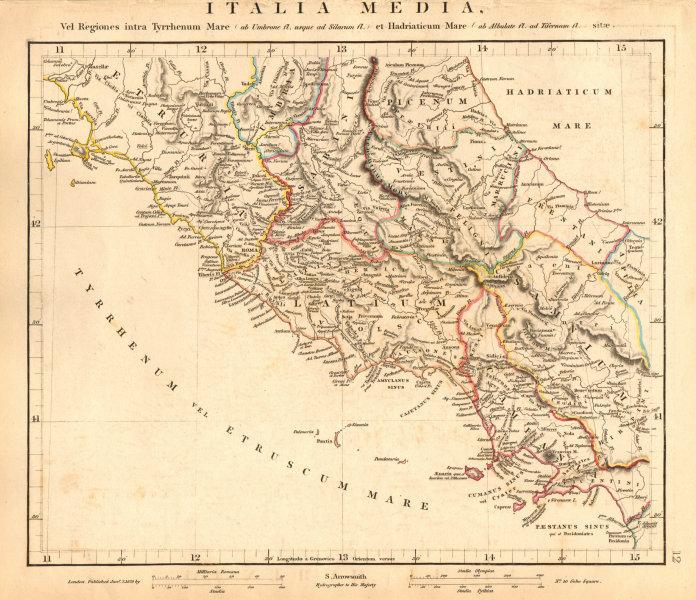Associate Product ANCIENT ROMAN CENTRAL ITALY. Italia Media. Etruria Latium. ARROWSMITH 1828 map