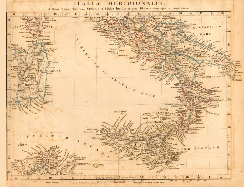 Associate Product ANCIENT ROMAN ITALY SOUTH. Italia Meridionalis. Sicilia. ARROWSMITH 1828 map