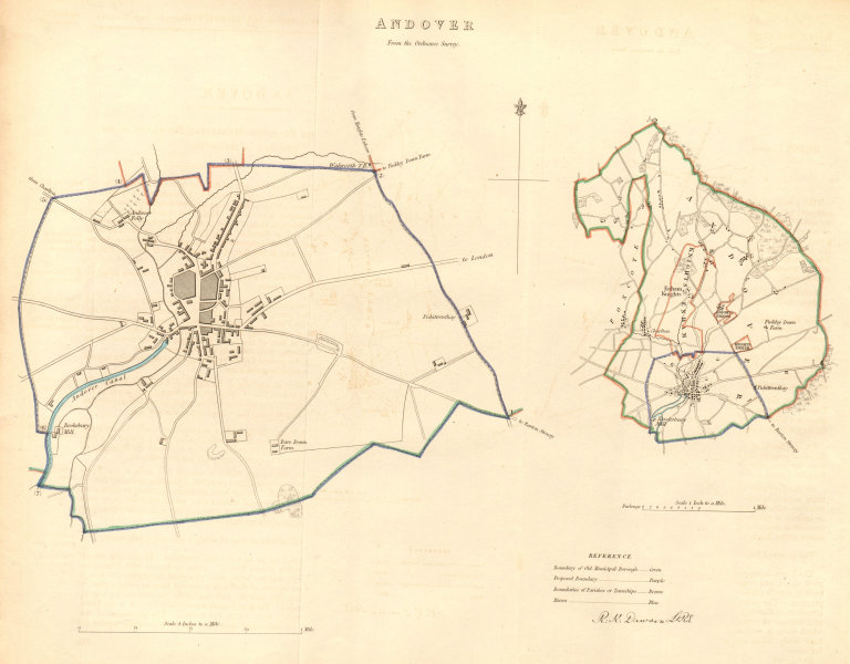Associate Product ANDOVER borough/town plan. BOUNDARY COMMISSION. Hampshire. DAWSON 1837 old map