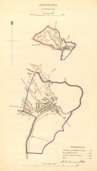 Associate Product ARUNDEL borough/town plan. BOUNDARY COMMISSION. Sussex. DAWSON 1837 old map
