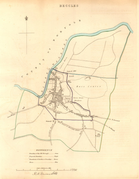 Associate Product BECCLES borough/town plan. BOUNDARY COMMISSION. Suffolk. DAWSON 1837 old map
