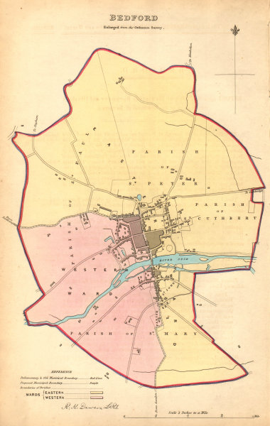 Associate Product BEDFORD borough/town plan. BOUNDARY COMMISSION. Bedfordshire. DAWSON 1837 map