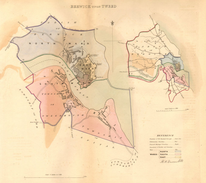 Associate Product BERWICK UPON TWEED borough/town plan BOUNDARY COMMISSION. DAWSON 1837 old map