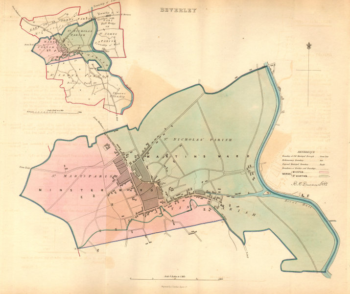 Associate Product BEVERLEY borough/town plan. BOUNDARY COMMISSION. Yorkshire. DAWSON 1837 map