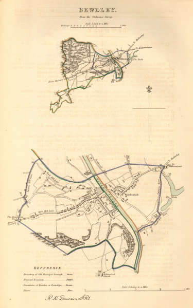 Associate Product BEWDLEY borough/town plan. BOUNDARY COMMISSION. Worcestershire. DAWSON 1837 map