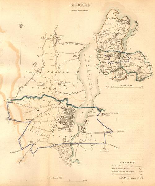 Associate Product BIDEFORD borough/town plan. BOUNDARY COMMISSION. Devon. DAWSON 1837 old map